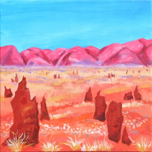 Termite Mounds Australia painting